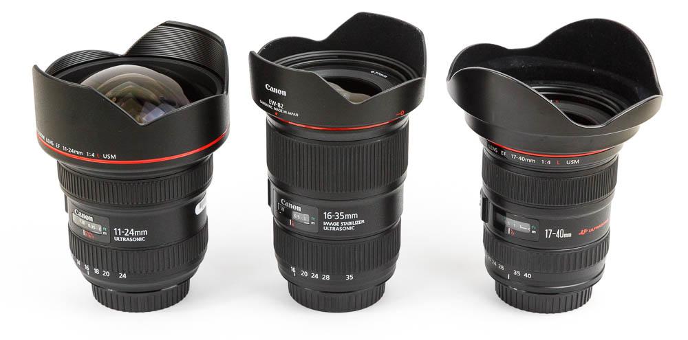 Canon EF 11–24mm, 16-35mm und 17-40mm L Produktbilder Vergleic