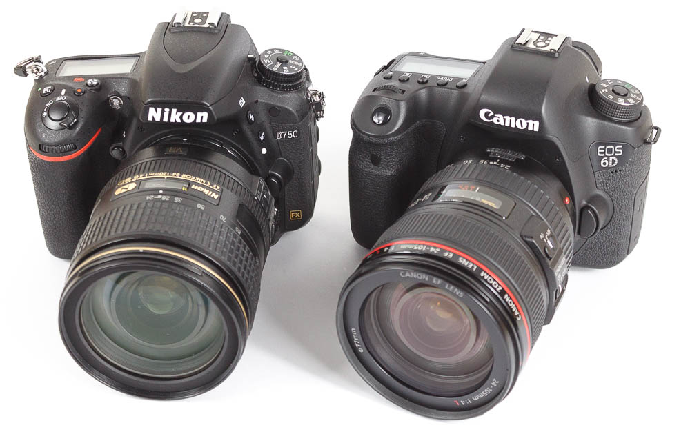 Canon EOS 6D Nikon D750 Vergleich Nebeneinander Uebersicht