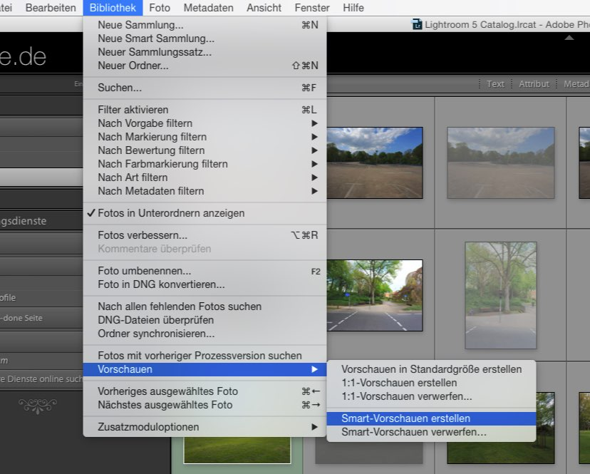 Lightroom Smart-Vorschauen Screen